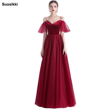 Suosikki Appliques Beaded Long Evening Dress Off the Shoulder Elegant Party