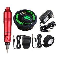 Tatuagem permanente maquiagem conjunto rotativo caneta máquina tatuagem kits mini power pedal tatuagem estúdio sortimento