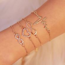 4pc/set Crystal Heart Infinity Bracelets for Women Gold Heart Beat Charm Wrist Chain Bracelets Set Fashion Hand Jewelry 2020 New