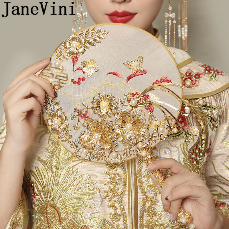 JaneVini Luxury Pearls Chinese Style Bridal Fan Bouquets Gold Round Ancient Wedding Bride Flower Bouquet Hand Holder Fans Nozze