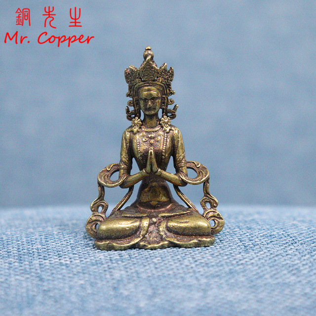 Solid Copper Mini Guanyin Buddha Statue Living Room Decorations Feng Shui Miniatures Figurines Home Decor Car Ornaments Crafts 1