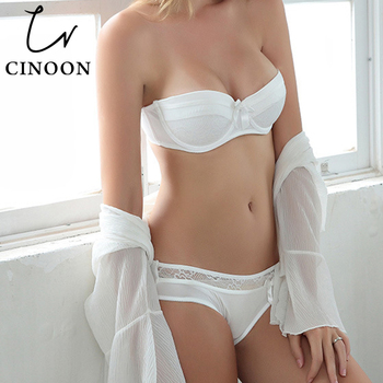CINOON Sexy Lingerie Lace Bra Set Push Up Underwear Bow Lingerie Sets Fashion Women Intimates 1/2 Thin Cup Bra And Panties bfforw lingerie sets sexy lace floral bra panties set women intimates breathable wireless push up sexy underwear bra set