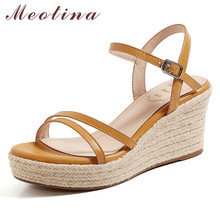 Meotina Espadrille Real Leather High Heel Sandals Platform Wedge Heels Women Shoes Buckle Dress Footwear Ladies Summer Sandals annymoli sandals women platform wedge high heels shoes round toe buckle high heel footwear ladies summer sandals female beige