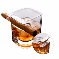 1 Pcs with Cigarette Groove Cigar Cups Lead-free Crystal Beer Glass Home Wine Whiskey Cup Thickening Glasses Square Drink Mug