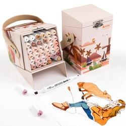 Маркер Arrtx ALP, 36 цветов, спиртовой маркер с двумя наконечниками, идеально подходит для рисования фигуры, портрета, раскрашивания в картонной ...