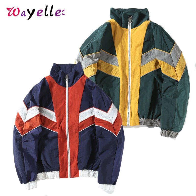 Mens Jackets and Coats  Block Patchwork Windbreaker Jackets 2019 Fall Loose Hip Hop Track Casual Jackets Mens Loose Tide Jackets