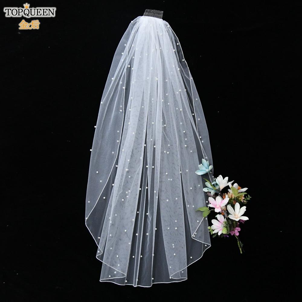 TOPQUEEN V06 90 CM Wedding Veils with Comb Sexy Face Veil  Communion Veils White Ivory Short  Wedding Veil Elbow Length Veil