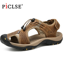 Large Size 48 Classic Genuine Leather Men Sandals Summer Men Beach Sandals Casual Outdoor Sandals for Beach shoes zapatos hombre