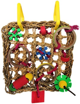Bird Climbing Net Parrot Straw Braid Rope Hanging Foraging Wall for Parakeet Cockatiel Budgie Lovebird Cage Swing Toy