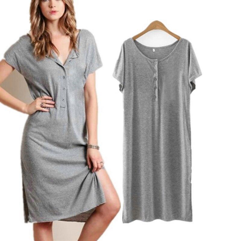 Celmia Women Fashion Shirt Dress 2020 Summer Casual Short Sleeve O-Neck Buttons Solid Midi Dress Plus Size Ladies Split Vestidos