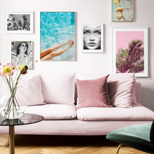 Ferris Wheel Fashion Girl Plant Wall Art Canvas Painting Nordic Posters And Prints Landscape Pictures For Living Room Decor