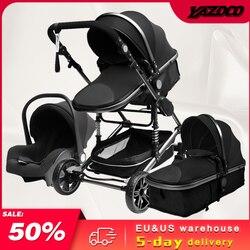 Luxury 3 in 1 Baby Stroller Portable High Landscape Gold Black Baby Carriage Folding Multifunctional Newborn Carrinho De Bebe