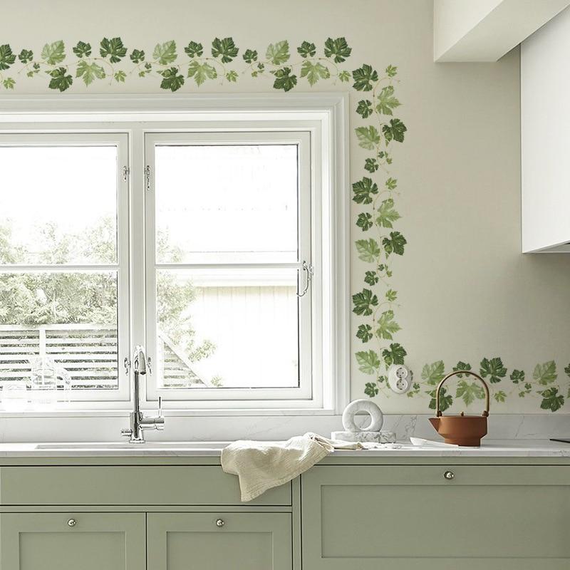 Green leaf vine Baseboard wall stickers bedroom living room Corner decoration art mural Skirting stickers wallpaper home decor
