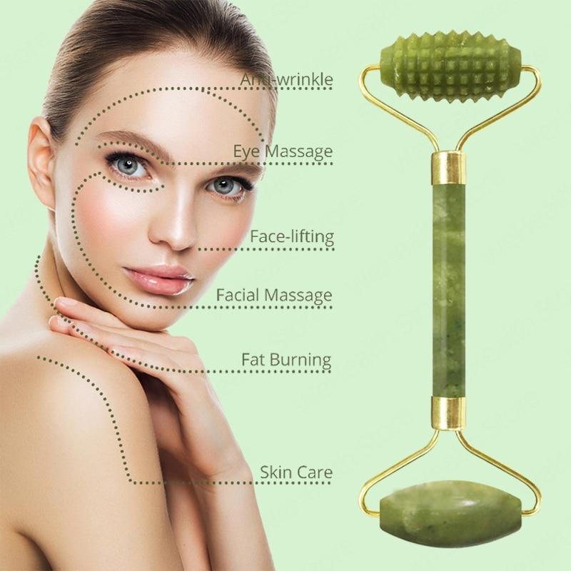 Natural Face Massager Gua Sha Jade Roller Face Massage Tool Set Face For Massager Guasha Facial Neck Skin Beauty Care Set 2