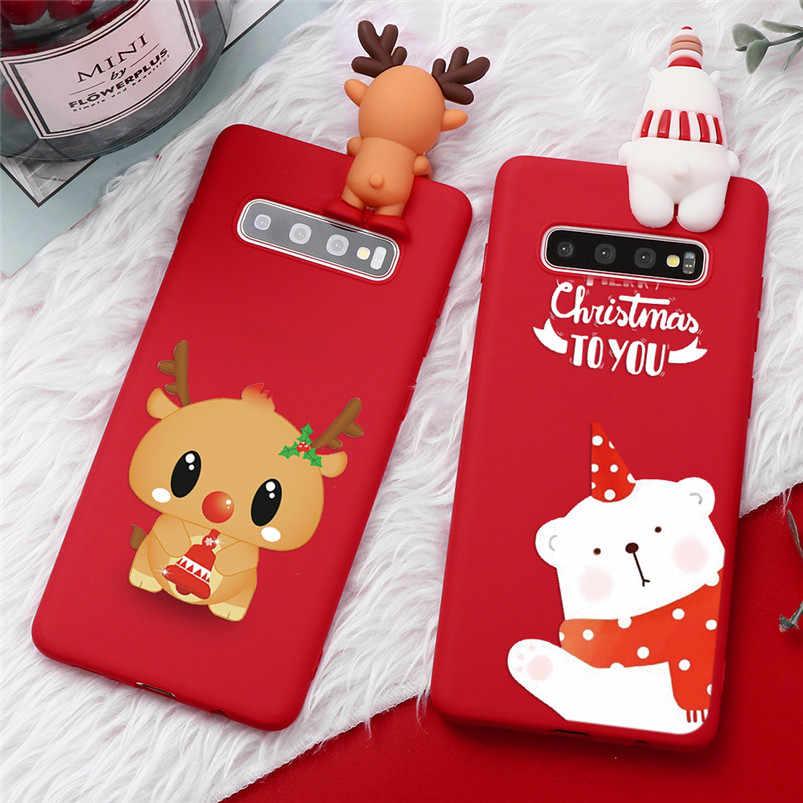 การ์ตูนคริสต์มาสกวางสำหรับ Samsung Galaxy S8 S9 S10 PLUS A10 A20 A30 A40 A50 A50S A60 A70 M10 m20 S6 S7 EDGE S10E TPU COVER