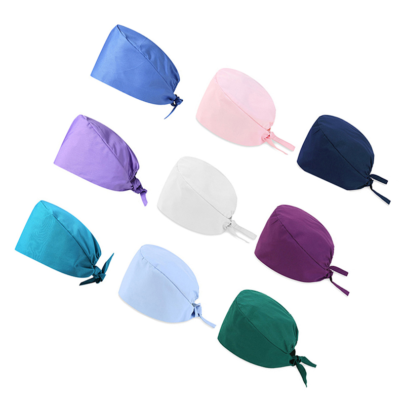 Unisex Nurse Print Scrub Surgery Medical Surgical Bouffant Hat Cap Pure Colour
