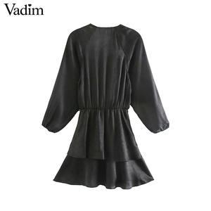 Image 2 - Vadim women chic ruffled black mini dress V neck elastic waist long sleeve party club fashion casual dresses vestidos QD054