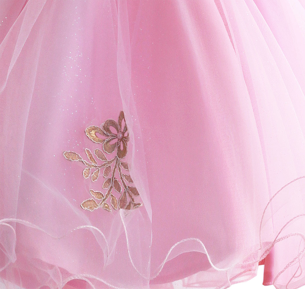Zoeflower New Style Embroidery Lace CHILDREN'S Dress Pure Cotton Performance Staging Princess Skirt Dress Powder