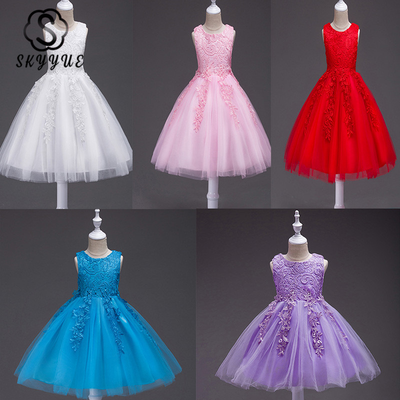 Skyyue Girl Princess Party Dress For Wedding Princess Dress O-neck Sleeveless Embroidery Kid Party Communion Dress 2019 738