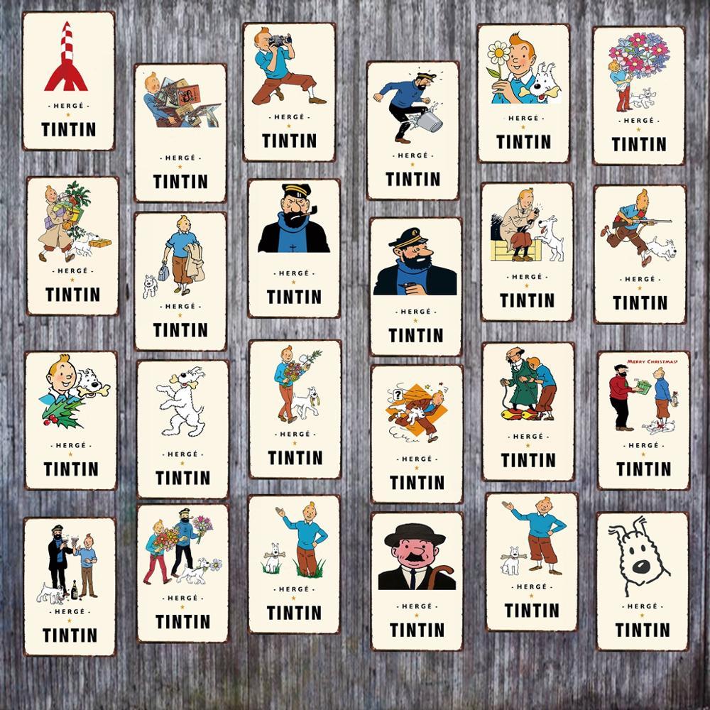 Tintin Cartoon señal Metal lata placa Metal Vintage Shabby Chic niños regalo pared arte hogar niños habitación decoración ICuadros DU-3895A BOTIMI, luces de techo LED de diseñador nórdico con pantallas de lámparas de Metal redondas blancas, decoración artística gris, lámparas de dormitorio montadas en el techo