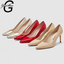 GENSHUO Red Heels Wedding Shoes High Heeled Pointed Toe Black Nude Shallow Pumps Gold Women's Shoes 8cm Heel,Size 33-41 Pumps(China)