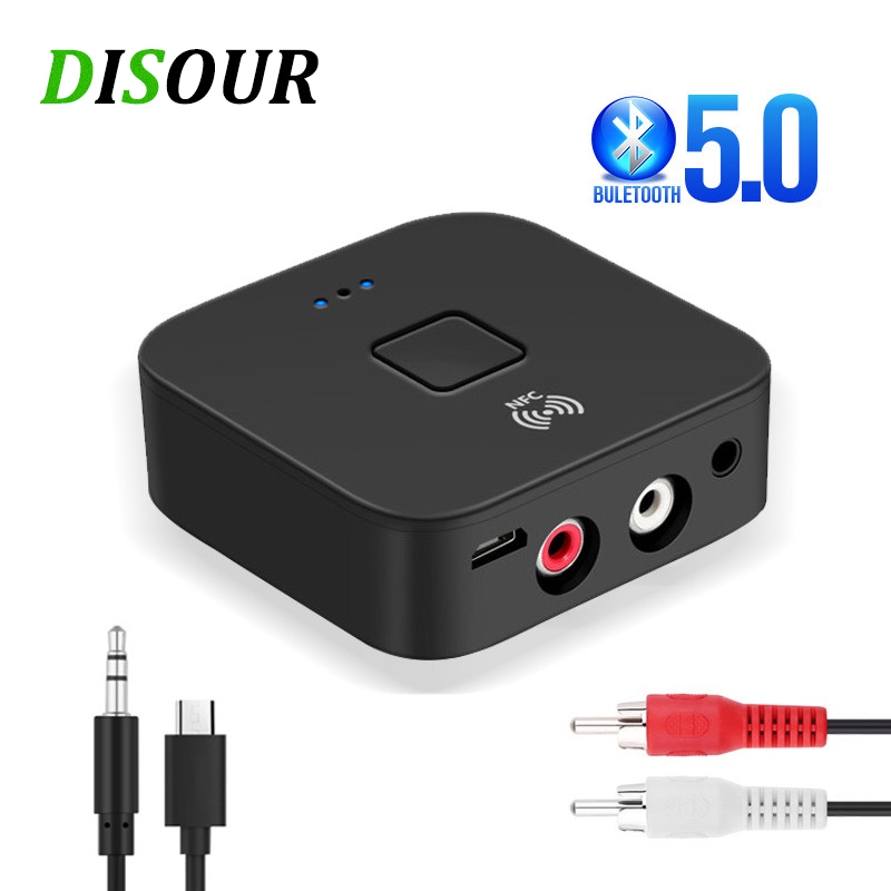 DISOUR NFC Bluetooth 5,0 Empfänger 3,5mm AUX RCA Jack HIFI Stereo Audio Wireless Adapter Auto Auf/OFF Für auto Kit Audio Rezeptor
