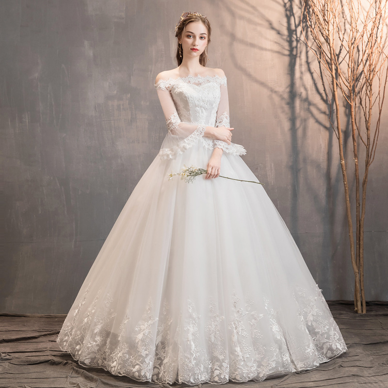 Wedding-Dresses Bride Off-The-Shoulder Robe-De-Mariee Flare-Sleeve Tulle Lace-Up Appliques