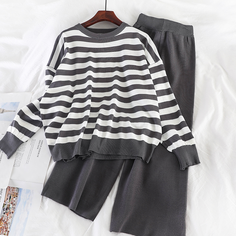 Mooirue Autumn Kintting Two Piece Set Striped Loose Sweater Top+solid High Waist Pants Bottom Vintage Streetwear Casual Set