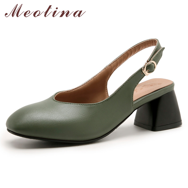 Meotina High Heels Women Pumps Buckle Thick High Heels Slingbacks Shoes PU Leather Square Toe Party Shoes Female Plus Size 3-12