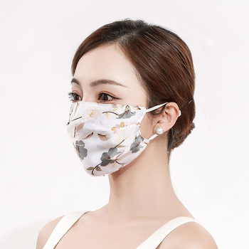 2pcs Fashion Printing Chiffon Mouth Mask Reusable PM2.5 Protective Face Cover Dust Face Mask Bacteria Proof Flu Mouth Muffle
