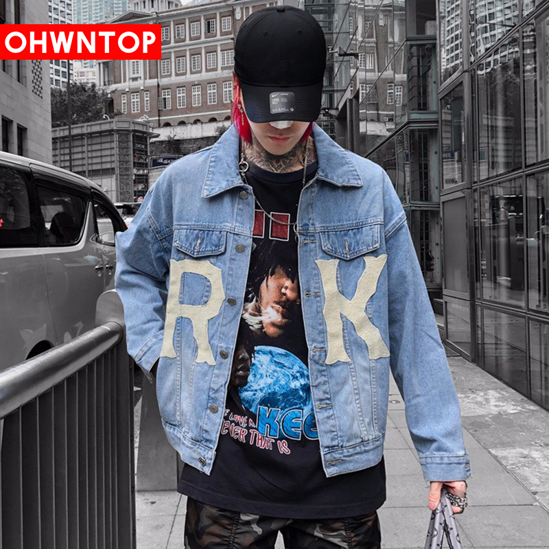 Fashion Letter Print Tie Dye Denim Jackets Streetwear Hip Hop Casual Men Denim Jeans Jacket Coats Hipster Casual Punk Rock Coats