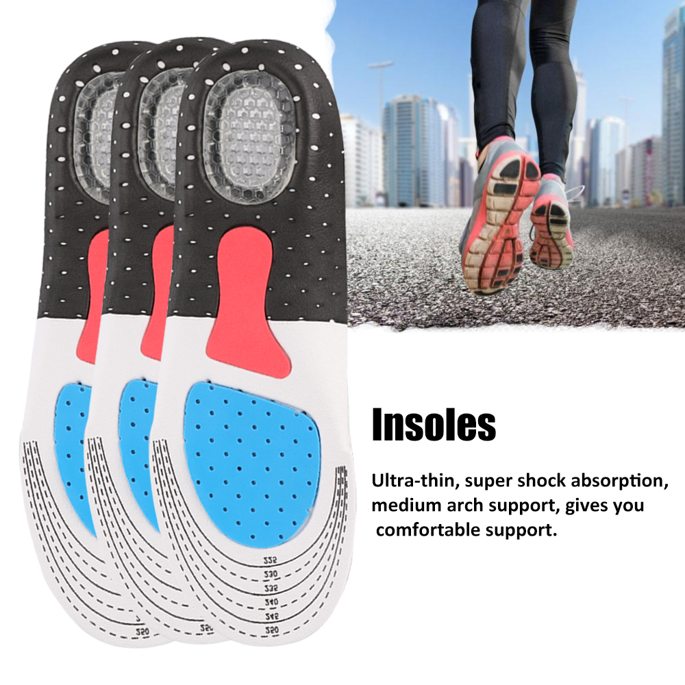 Orthopedic Foot Arch Support Sport Shoe Pad Running Gel Insoles Insert Cushion Insole Sneakers Pad Sweat-absorption Flash Drying
