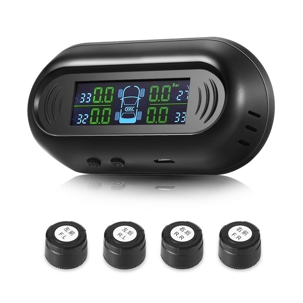 G50 Solar Powered TPMS Car Tire Pressure LCD Screen Display 4 External Sensors Vehicle Security Alarm System Detector XM-114(China)
