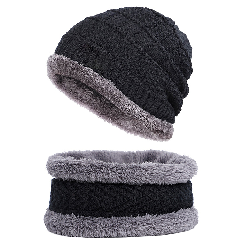 Knitted Hat Unisex  Winter Fashion Thick Warm Fleece Lined Neck Warmer Scarf Set For Snowboard Skiing Skating