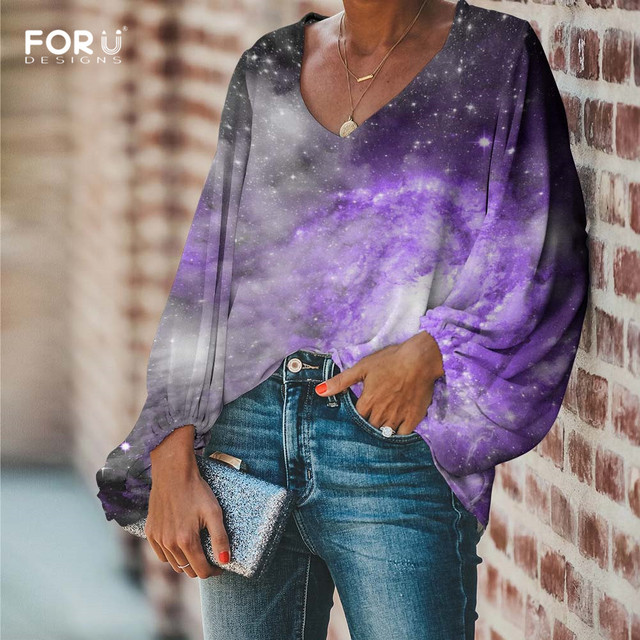 FORUDESIGNS Galaxy Space Printing Women Blouses Long Sleeve Blouse Loose Tunic V Neck Shirts Ladies Chiffon Blouse Sexy Tops 2