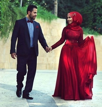 Red Long Sleeve Dubai Arabic Style Muslim islamic Hijab Evening Dresses Evening Gowns Kaftan abaya in dubai fashion black white striped abaya dubai kaftan flared sleeves moroccan islamic dress hijab dress middle eastern robes ramadan