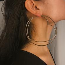 Salircon Fashion Simple temperament Hoop Pendant Earrings Geometric Irregular Circle Heart Shape Ornament Accessories