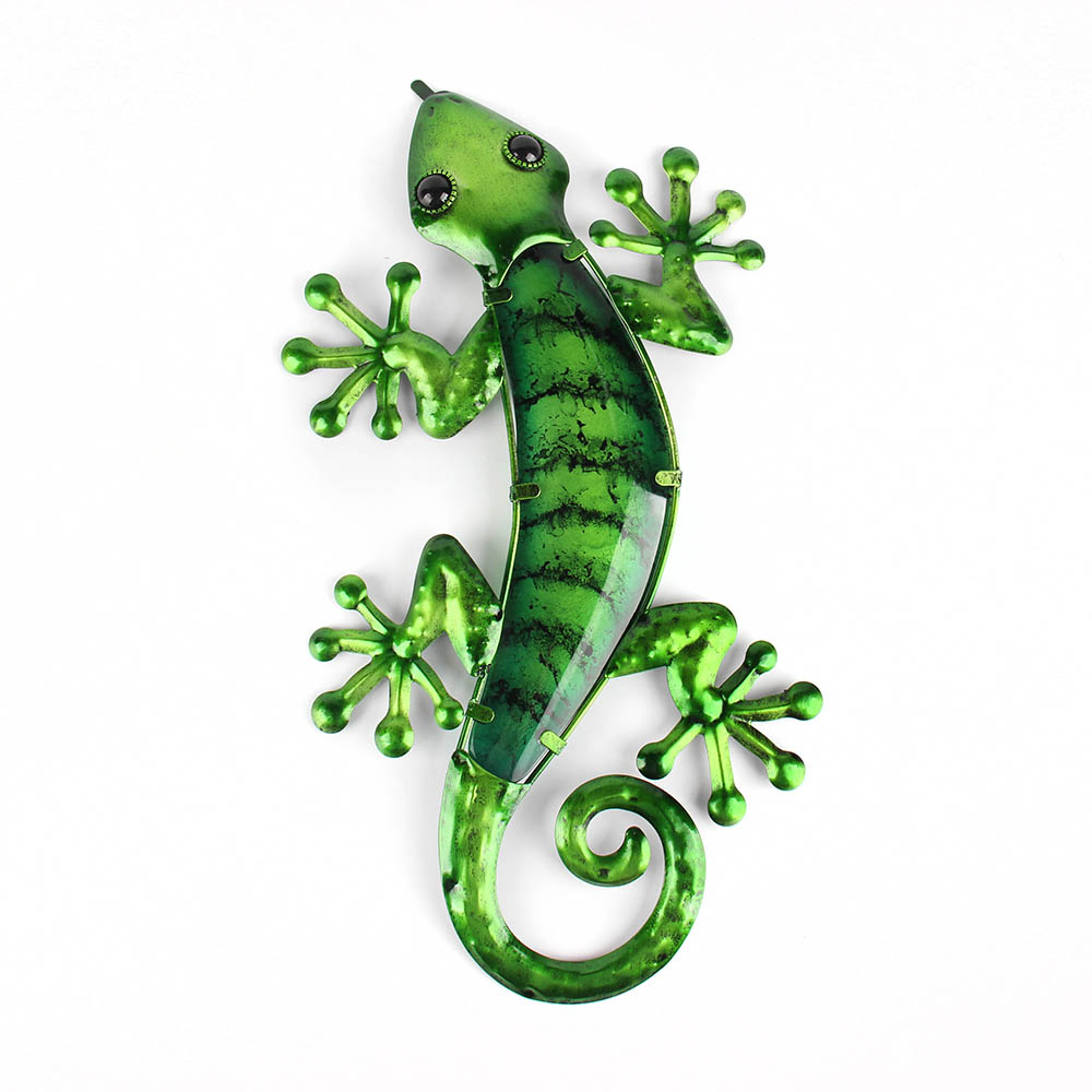 Metal Lizard Wall Art With Green Glass Painting For Garden Outdoor Decoration Animal Statues And Sculptures