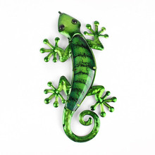 Metal Lizard Wall Art with Green Glass Painting fo