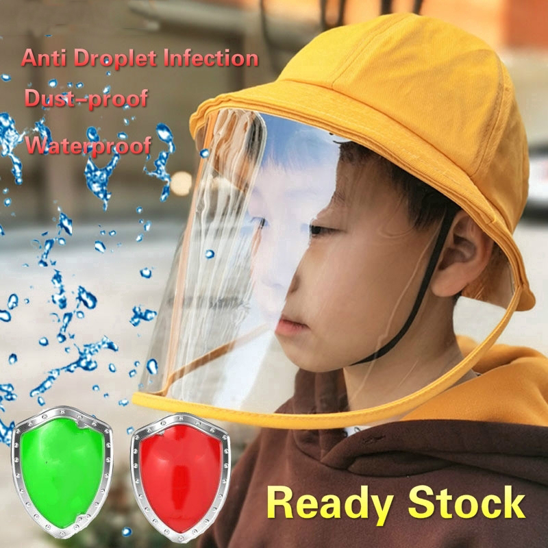 2020 Anti-spitting Protective Hat Dustproof Cover Kids Boys Girls Fisherman Cap Hat Anti Dust Cartoon Dust Mask Cover