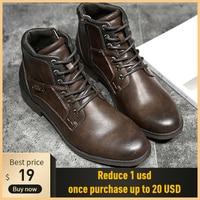 Mode rétro cheville en cuir hommes bottes 2019 haut-haut côté fermeture éclair outillage noir marron bottes plein air désert bottes hommes chaussures
