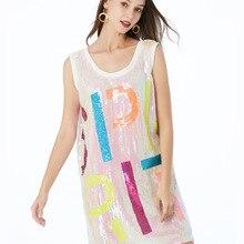 Женская свободная длинная рубашка с буквенным принтом и блестками, мини-платье с круглым вырезом и коротким рукавом