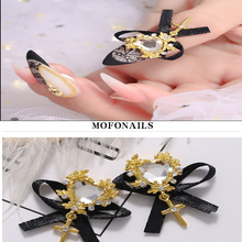50pcs/lot Nails jewelry Art Decoration Cross With Bow-knot Nail Charming Crystals Jewelry DIY Nail Tips Cross Jewelry Rhinestone charming rhinestone leaf cross bracelet