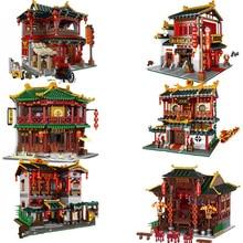XINGBAO Zhonghua Street Chinatown Building Series The Toon Tea House Pub Set Building Blocks Bricks With Figure Kids Toys Gifts