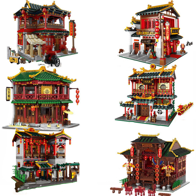 XINGBAO Zhonghua Street Chinatown Building Series The Toon Tea House Pub Set Building Blocks Bricks With Figure Kids Toys Gifts