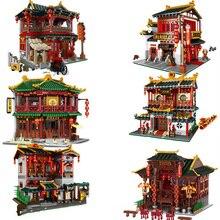 XINGBAO Zhonghua sokak Chinatown yapı serisi Toon çay ev Pub Set yapı taşları tuğla figürü çocuk oyuncakları hediyeler