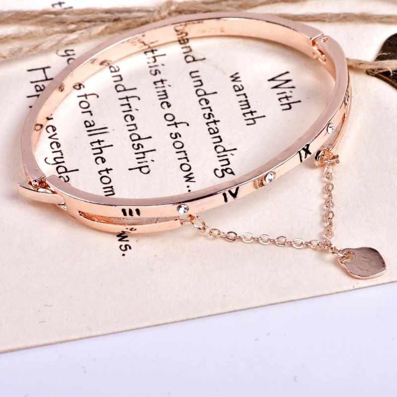 רוז זהב נירוסטה צמידי עבור ילדה בצורת לב תליון צמיד רומי ספרות עם ריינסטון יוקרה תכשיטי נשים
