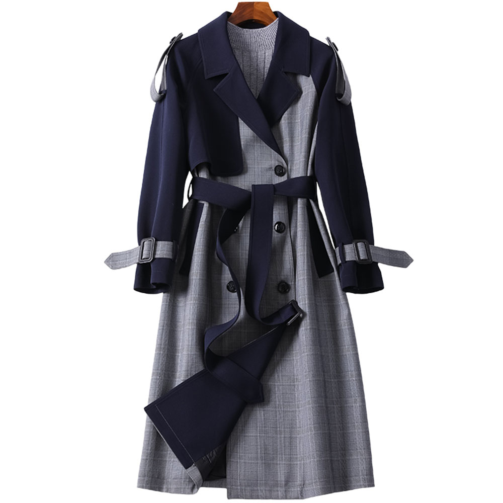 Autumn Plaid Long Trench Coat Women Spring Elegant High Quality Office Coats Vintage Double-breasted Patchwork Belt Outerwear