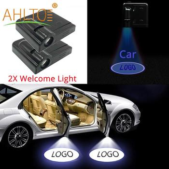 2X Auto Universal Wireless Parking Led Welcome Light Projection Light Atmosphere Lamp Car Door Light Laser LED Decoration Lights 2x auto led car led wireless door led welcome light projection lamp for renault laser buld for lada for bmw for volvo for toyota