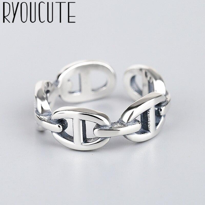 Преувеличенный Ретро Серебряный цвет полые кольца цепи для женщин обручальные кольца винтажные девушки открытые ювелирные изделия